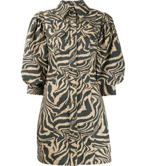 ganni swirl tiger-print dress - brown