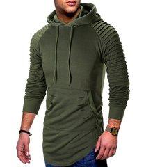 pleated raglan sleeve ripped pullover hoodie