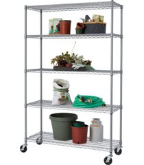 trinity 5-tier outdoor wire shelving rack with nsf includes wheels