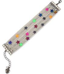 betsey johnson multi-tone neon star multi-row chain bracelet