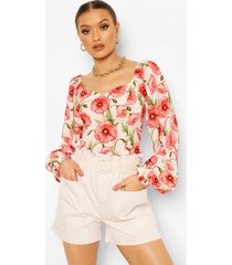 floral sweatheart puff sleeve woven top, white