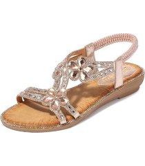 nuevas sandalias de diamantes de imitación de flores mujeres