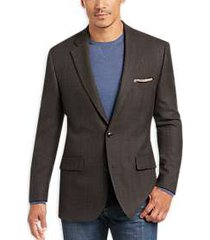 joseph & feiss gold classic fit sport coat brown plaid