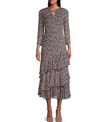rebecca taylor women's twilight ruffle dress - dark navy - size 2