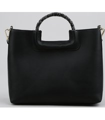 bolsa feminina tote média com alça croco preta