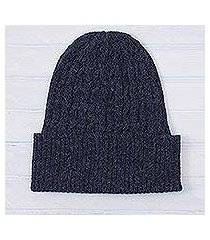 100% alpaca hat, 'indigo braid cascade' (peru)