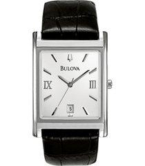 bulova men's black leather strap watch 45mm 96b107