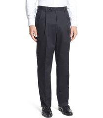 men's berle pleated classic fit cotton dress pants, size 36 x unhemmed - black