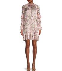 penny floral butterfly silk-satin shift dress