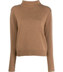 aspesi roll-neck fitted sweater - brown