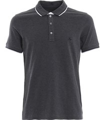 fay double collar dark grey polo shirt