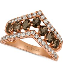 le vian smoky quartz (9/10 ct. t.w.) & nude diamond (5/8 ct. t.w.) chevron statement ring in 14k rose gold