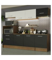 cozinha completa madesa onix 240002 com armario e balcão rustic/preto/branco 5z77 rustic/preto/branco