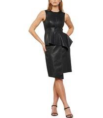 bcbgmaxazria asymmetrical faux-leather dress