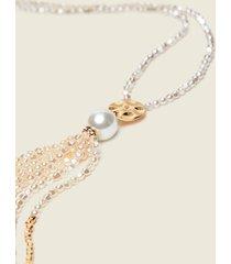 motivi collana lunga con perle e pietre donna giallo