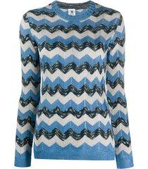 m missoni suéter com bordado chevron - azul
