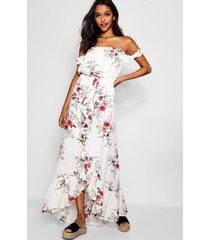 bloemenprint maxi wikkel jurk met ruches en open schouders, meerdere