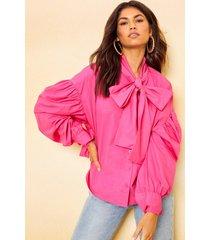katoenen gestrikt shirt met lage schouders, warm roze