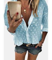 camicetta casual da donna a maniche lunghe con stampa a pois