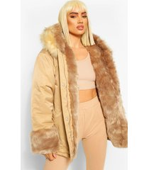 monochrome parka jas met faux fur zoom, gold