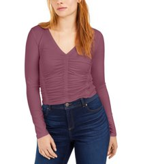 bar iii ruched-front v-neck top, created for macy's
