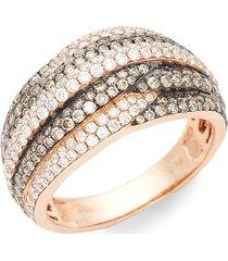 le vian women's chocolatier 14k strawberry gold, chocolate diamond & vanilla diamond band ring/size 7 - size 7