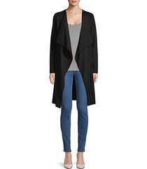 draped wool-blend ribbed cardigan