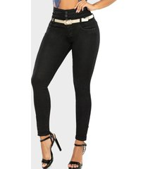 jeans push up negro cheviotto
