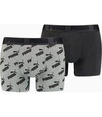 2-pak herenboxers met all-over logo, zwart/grijs, maat s | puma