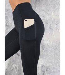 leggings de cintura alta con bolsillo negro diseño yoins basics