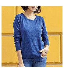 cotton blend pullover, 'warm valley in royal blue' (peru)