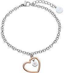 bracciale in acciaio silver con cuore rosato e strass per donna