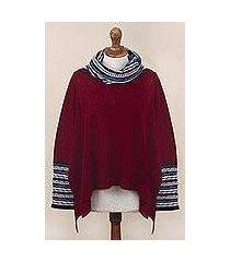 alpaca blend poncho pullover, 'festive red streamers' (peru)