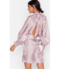 womens glass half full tie back mini dress - lilac
