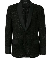 dolce & gabbana floral lace pattern blazer - black
