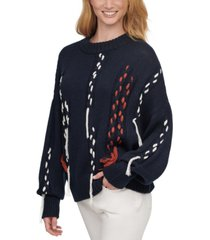 dkny braided crewneck sweater
