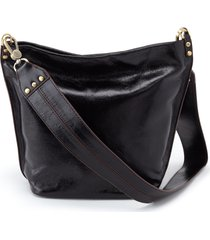 hobo flare leather bucket bag - black