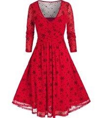 plus size christmas snowflake print mesh crossover dress