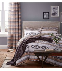 geometric stripes grey white cotton blend double duvet cover&ring top curtains