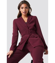 na-kd classic wide belted blazer - red,purple