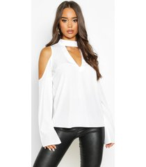choker plunge cold shoulder top, white