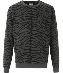 saint laurent animal print sweatshirt - black