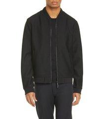 men's emporio armani trim fit stretch bomber jacket, size 38 us - black