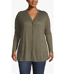 lane bryant women's lane essentials v-neck tunic cardigan 10/12 olive