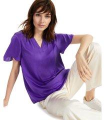 alfani flutter-sleeve split-neck top, created for macy's