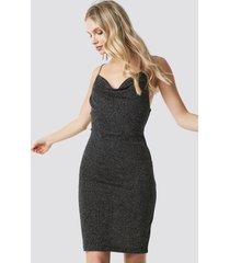 na-kd party glittery spaghetti strap dress - silver
