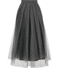fabiana filippi tulle tartan print skirt - grey