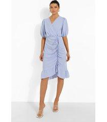 linnen look midi wikkel jurk met ruches, light blue