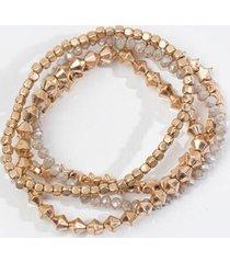 amara star beaded stretch bracelet set - gray