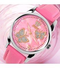 reloj de cuarzo de señora de cara de mariposa-rosa